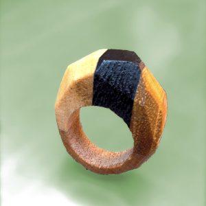 Button for drie kleuren diamant ring